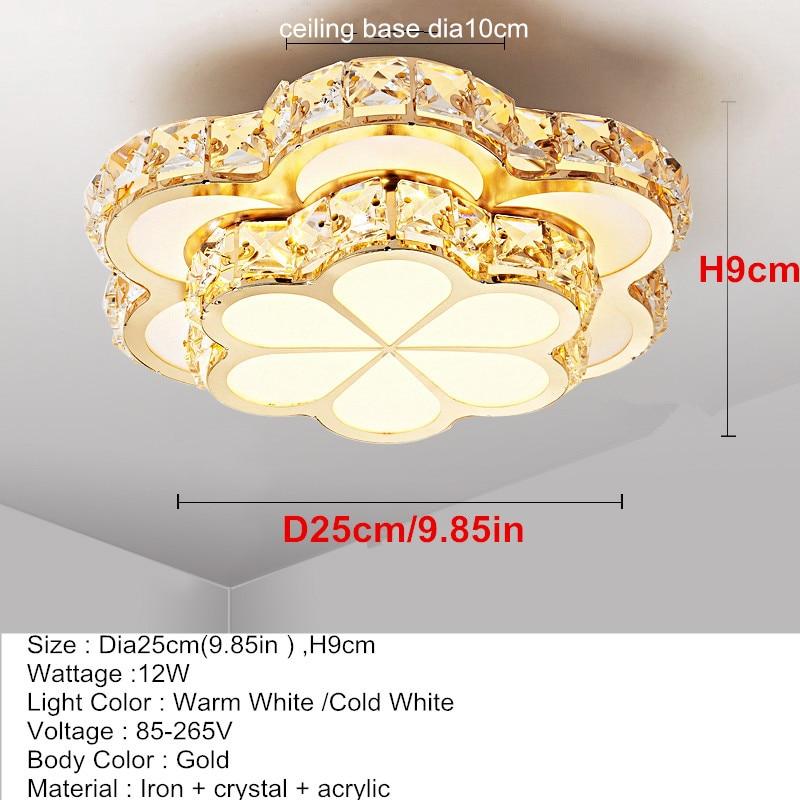 Chandelier Ceiling Light | Crystal Ceiling Lights | Flower Design Chandelier Lamps Gold Led Plafonnier For Aisle Lustre Corridor Balcony Ceiling Lamparas Home Light 001