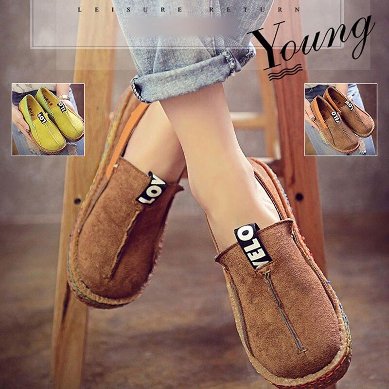 Las mujeres de Los Holgazanes Casuales Zapatos Femeninos Punta Redonda Slip-On D