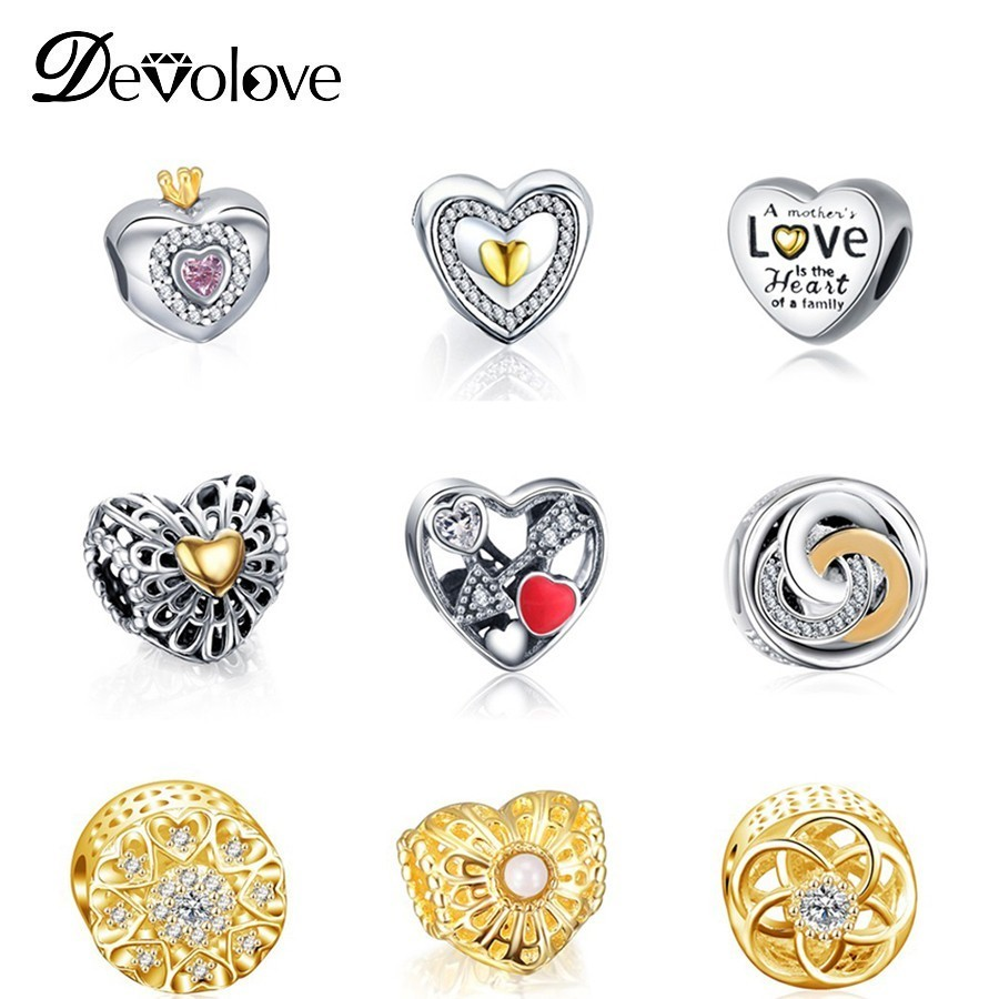 Dropshipping Simple Heart Style Charms Crystal Diy Beads Charm Fit Original Pandora Bracelet Jewelry for Women Making Gifts