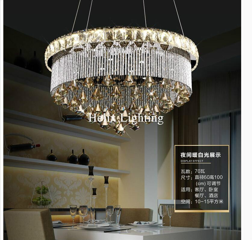 New Arrival Modern D60cm LED Luxury Newly European Top K9 Champagne Crystal Pendant Light Hotel Hall Living Room Dining Room AC casio mtd 1078d 1a1