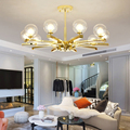 Современные золотые металлические светодиодные люстры  стеклянные оттенки  гостиной  светодиодные подвесные люстры  Светильники для спаль...