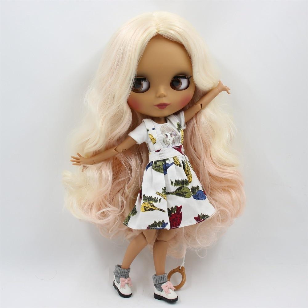 Oyuncaklar ve Hobi Ürünleri'ten Bebekler'de Fabrika blyth doll 1/6 bjd ortak vücut koyu cilt mat yüz pembe ve sarı saç BL2352/3139/340 30cm'da  Grup 2
