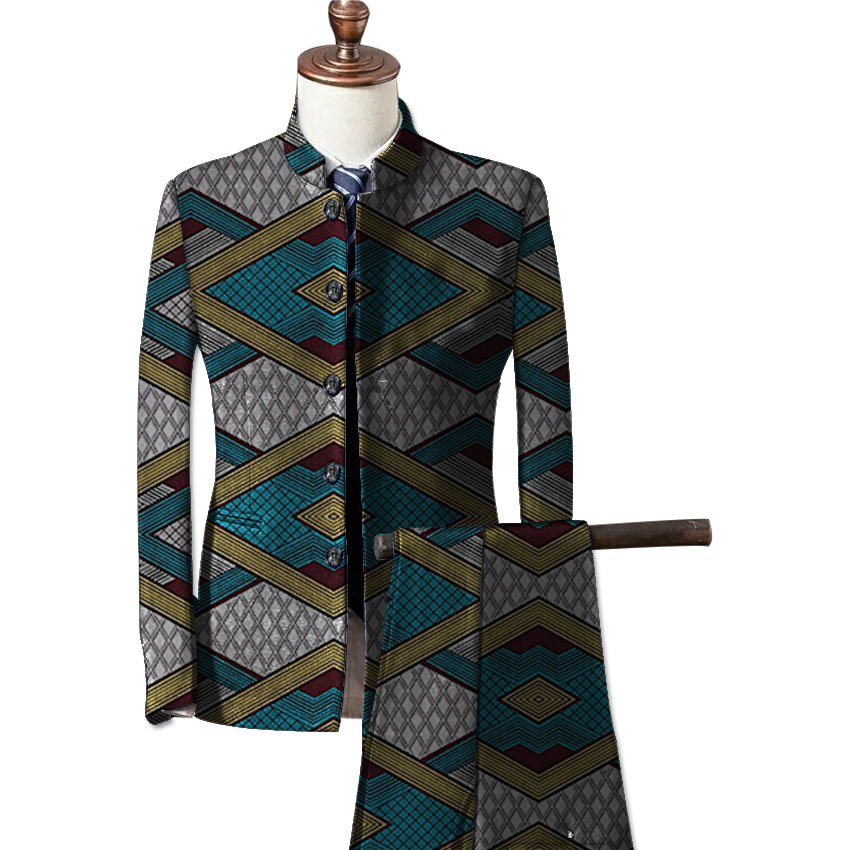 African fashion mens formal wear blazers printed dashiki suit jacket and pants set customize prints africa clothing 5