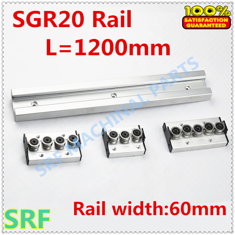 Type carré rouleau de rail de guidage linéaire SGR20 rouleau glissière L = 1200mm + 1 pièces SGR20 roue bloc coulissant