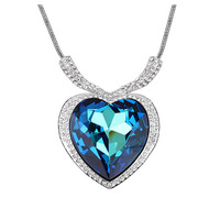 Luxury Austrian Crystal Heart Pendant With Diamante Heart Of The Sea Necklace