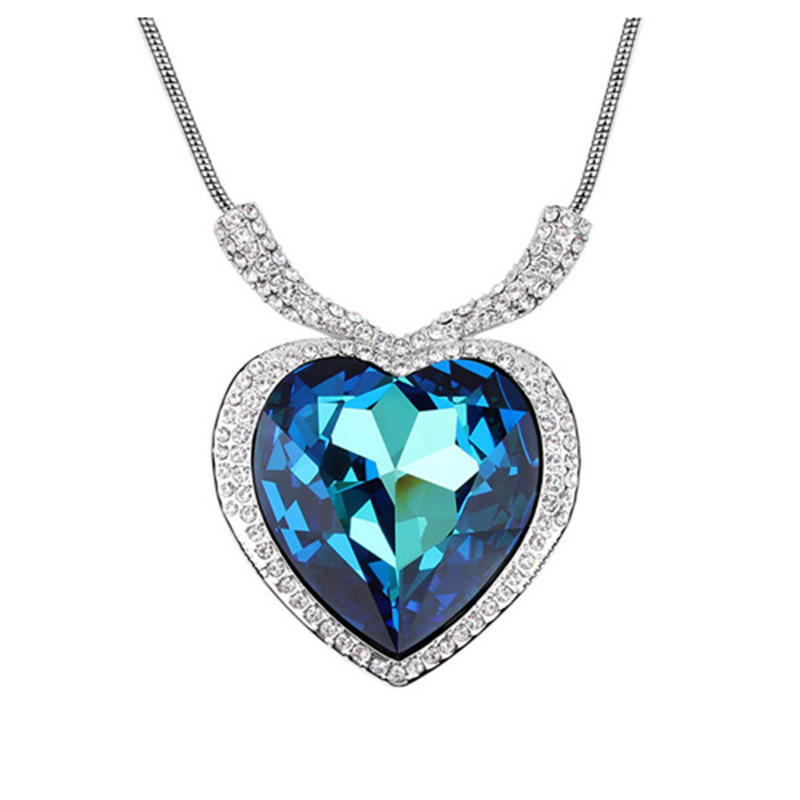 Luxury Austrian crystal heart pendant with diamante heart of the sea necklace yoursfs love you forever white gold plated heart in circle pendant necklace with austrian crystal open heart silver necklace wo