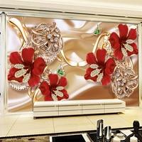 Beibehang Papel De Parede 3d Custom Wallpaper 3D Riches Jewelry Jewelry Flowers TV Backdrop Papel De