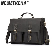NEWEEKEND 1061 Genuine Leather Crazy Horse 15 Inch Cowhide Crossbody Briefcases Handbag Laptop iPad Bag Male Men Portfolio Tote