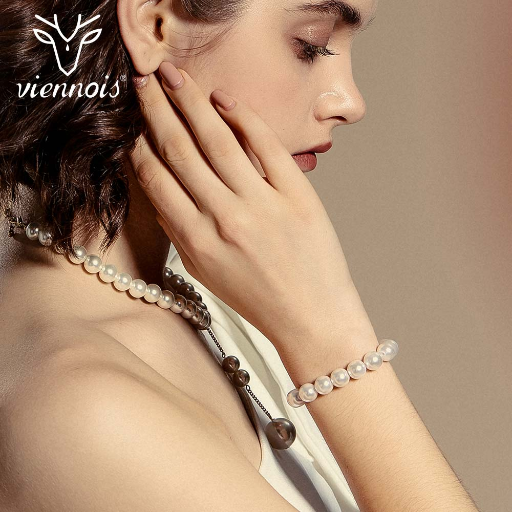 Viennois Bangles Chain Bracelet Simulated-Pearl-Bracelets Jewelry Female Gold-Color Women