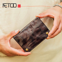 AETOO Handmade wallet male leather retro make old vertical wallet men's short retro wallet