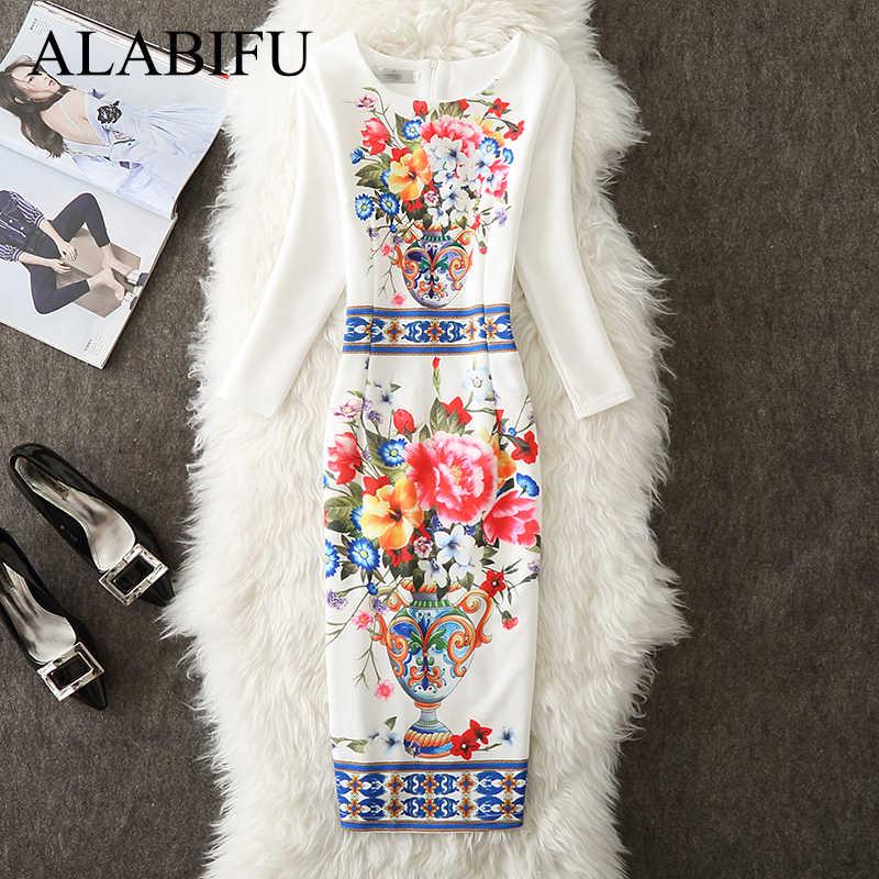 ALABIFU 2019 весна лето платье женское повседневное Плюс Размер Цветочные Длинные вечерние платья Офисное облегающее платье карандаш белое Vestidos 4XL