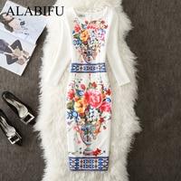 5409bcc1041 ALABIFU 2019 Spring Summer Dress Women Casual Plus Size Floral Long Party  Dress Office Bodycon Pencil