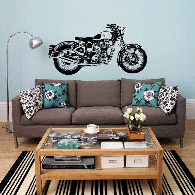 Motorcycle Wall Stickers Part - 18: D3681 Royal Enfield Motorbike Wall Art Sticker Classic English Motorcycle  Decal Car Wallpaper Mural Wall Stickers