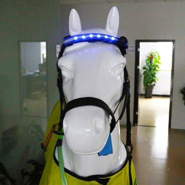 Наездники лошадь ремешки для крепления на голове светодиодный для Верховая езда лошадей ночной ошейник с подсветкой для верховой езды с ремнем, заменяемый CR2032 Батарея