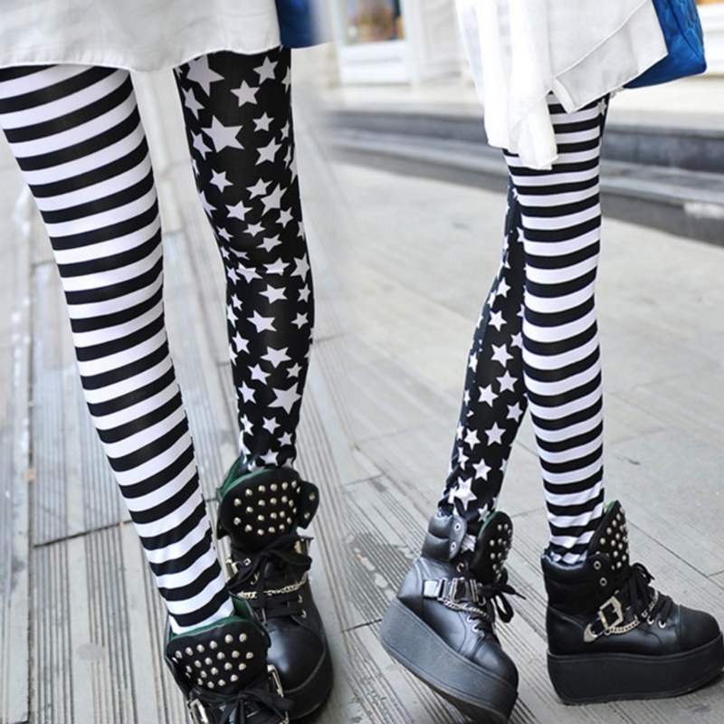 Women Stripe+Stars   Leggings   Elastic Waist Stretch Pencil Pants Jeggings