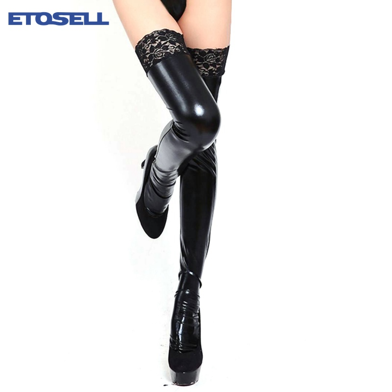 ETOSELL New Arrivial Sexy Women Lace Stockings 1 Pair Fashion Stretch Over Knee Patent Leather PU Thigh High Stockings