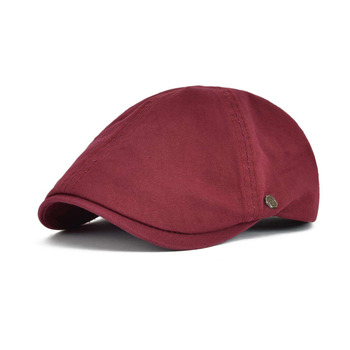VOBOOM Red Summer Cotton Flat Cap Ivy Caps Men Women Burgundy Newsboy Cabbie Driver Solid Color Casual Camouflage Beret 063