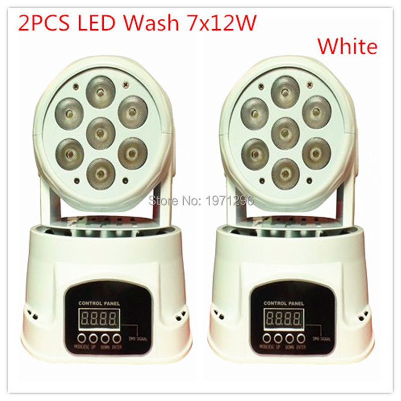 2pcs/lot Fast Shipping White LED Moving Head Mini wash 7x12w RGBW Quad with advanced 14 channels Free Shpping