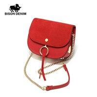 BISON DENIM Brand High Quality PU Leather Small Shell Women Shoulder Messenger Bags Female Crossbody Metal