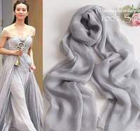 Smoky Grey Scarf Solid Color Silk Scarf Autumn And Winter Female Silk Scarf Cape Scarf Mulberry