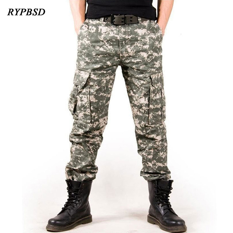 New 2019 Military Desert Camouflage Pants Men Tactical Combat Multi-Pocket Cotton Casual Baggy Cargo Pants Men Straight Trousers
