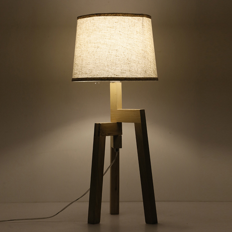 US $97.5 25% OFF|Modern Wood Table Floor Lamp Living Room Bedroom Study  Standing Lamps Fabric Decor Home Lights Wooden floor Standing Lights-in  Floor ...