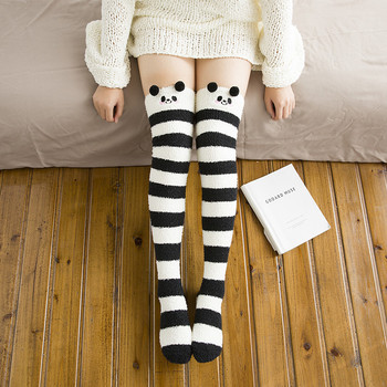 New Women Cute Thigh High Over The Knee Coral Fleece Tights Soft Girls Striped Pandas Pantyhose Winter Floor Room Stockings tights