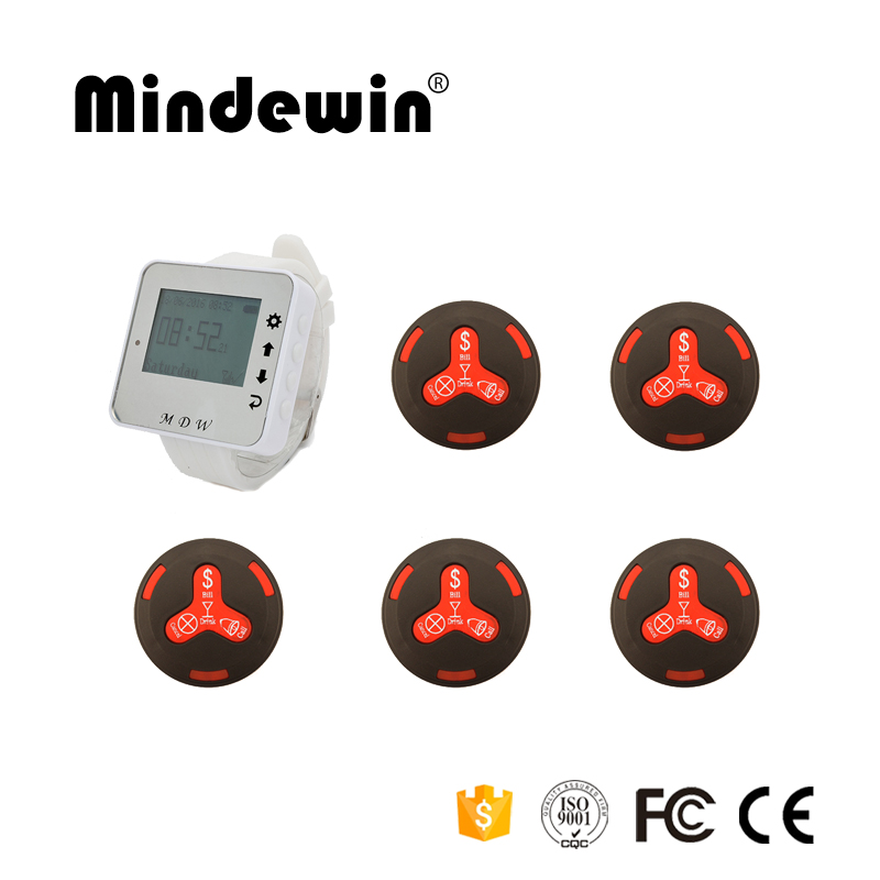 433MHz Restaurant Pager Wireless Waiter Calling Paging System 1pc Receiver Host +5pcs Call Button for Restaurant Coffee Hotel 20pcs call transmitter button 3 watch receiver 433mhz 999ch restaurant pager wireless calling system catering equipment f3285c