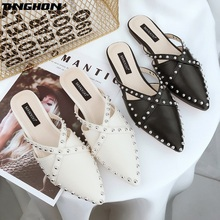 TINGHON Rivets Heel Women Mules Solid Color Pointed Toe Pumps Fashion High Elegant Office Shoes