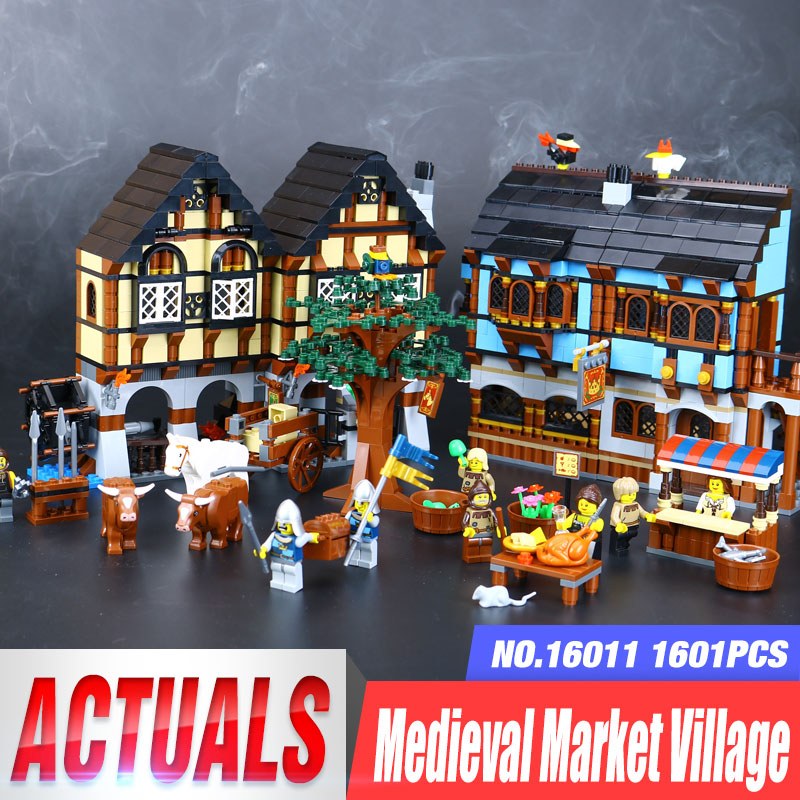 New 16011 castle Series the Medieval Market Village Model Building Brick legoing 10193 classic Architecture Toys for children wange 8011 new famous architecture series the kuala lampur petronas tower 3d model building blocks classic toys for children