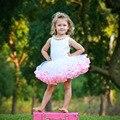 Девушки Юбки 3 слоя Белого Тюля и Pink Ribbon Юбка малыш Младенческой Pettiskirt Дети День Рождения Юбки Для 1-8 лет