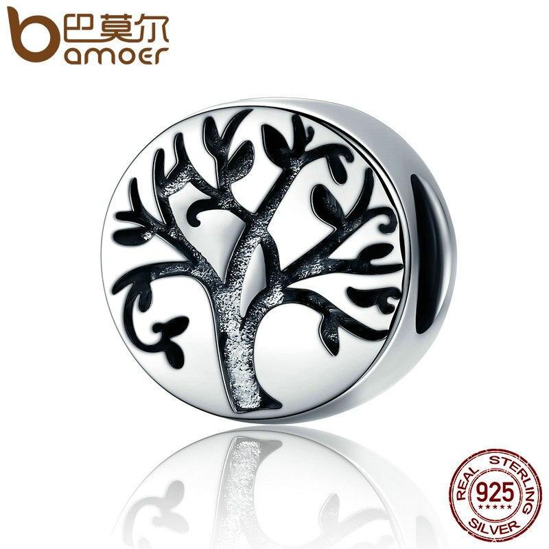 BAMOER Venta caliente 100% Real 925 plata esterlina clásico Árbol de la vida de cuentas del encanto pulseras y brazaletes de la joyería haciendo SCC430