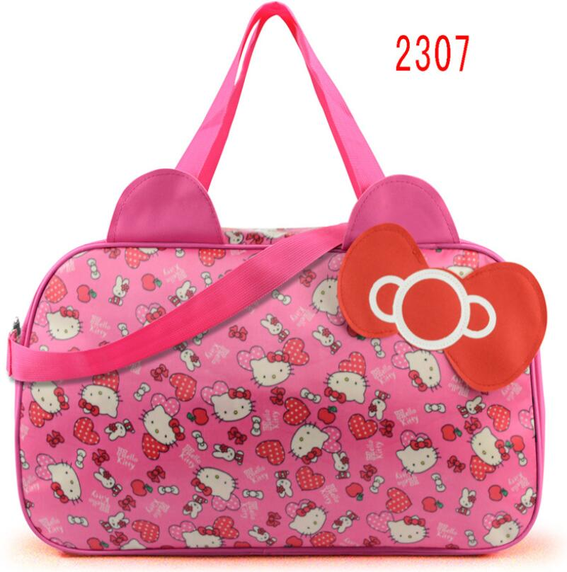 Women Travel Duffel Bag Hello Kitty Cartoon Handbags weekend trip tote Luggage Bags Bolsa Feminina Girls School Bag hello kitty women s hello cartoon print short pajama set