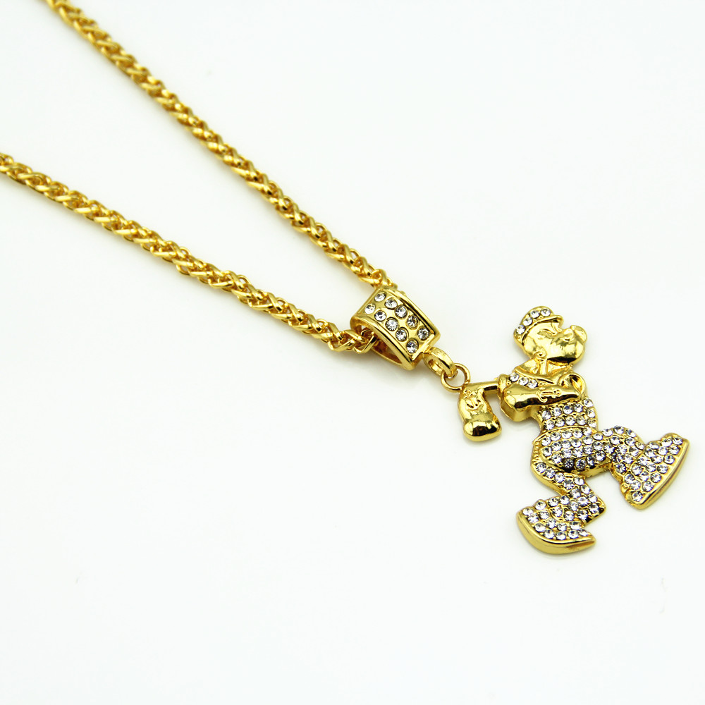 Hip Hop Bling Popeye Pendant Necklace Jewelry