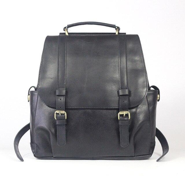 2018 black genuine leather women men backpack unisex cow leather retro  preppy style field pack 46fc63e5e109