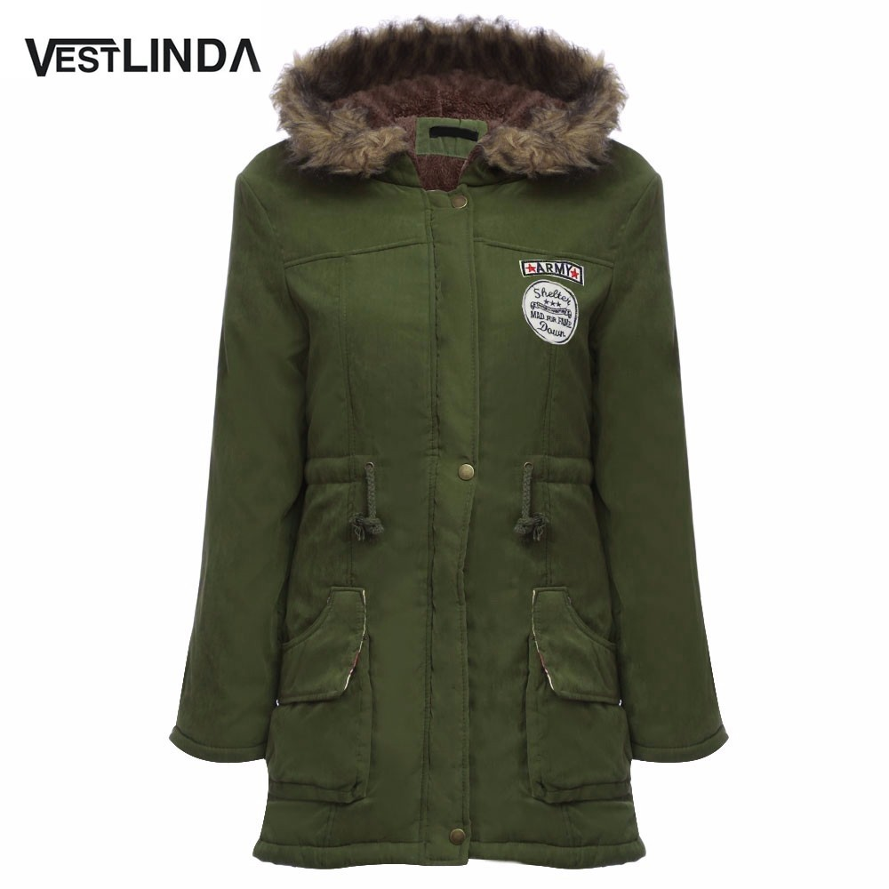 VESTLINDA Coats Big Size Fur Hooded Down Coat Army Green Drawstring Jackets Coat Winter Jacket Women Warm Coats Parkas Plus Size 8