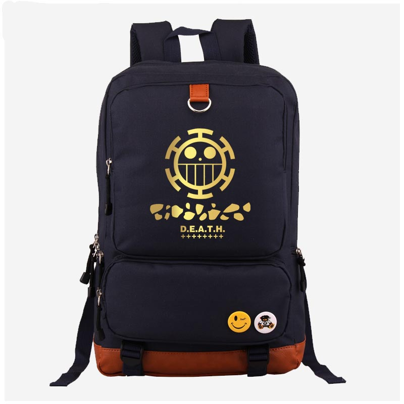 Japan Anime One Piece Trafalg Law cosplay Backpack Fashion Canvas Student Luminous Schoolbag Unisex Travel Bags japan anime tokyo ghoul cosplay shoulders bag backpack cartoon schoolbag mochila unisex casual travel bags