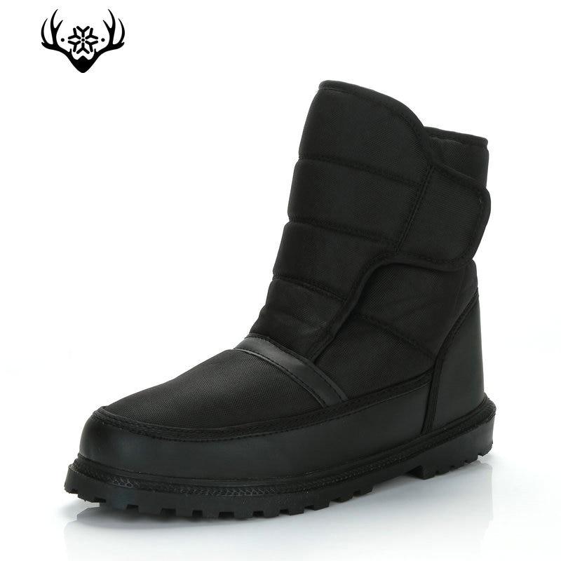 Мужские ботинки, черные зимние ботинки, теплая меховая стелька, Нескользящая Пряжка, размера плюс от 40 до 46, толстая подошва, нейлон, верхняя ...