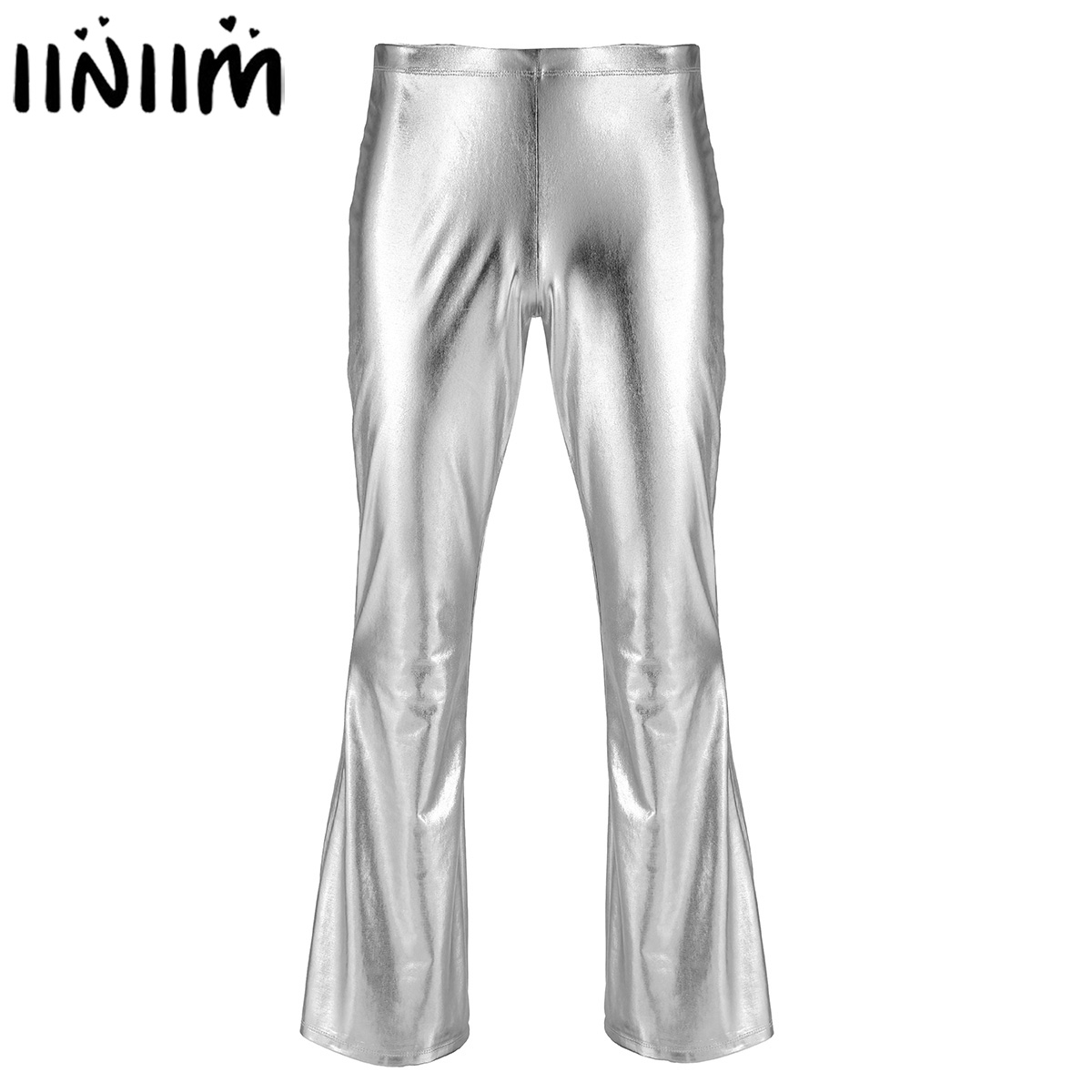 e28a0dc2f4103 iiniim Adult Mens Punk Night Club Wear Pants Shiny Metallic Disco Pants  with Bell Bottom Flared Long Pants Dude Costume Trousers-in Flare Pants  from Men s ...