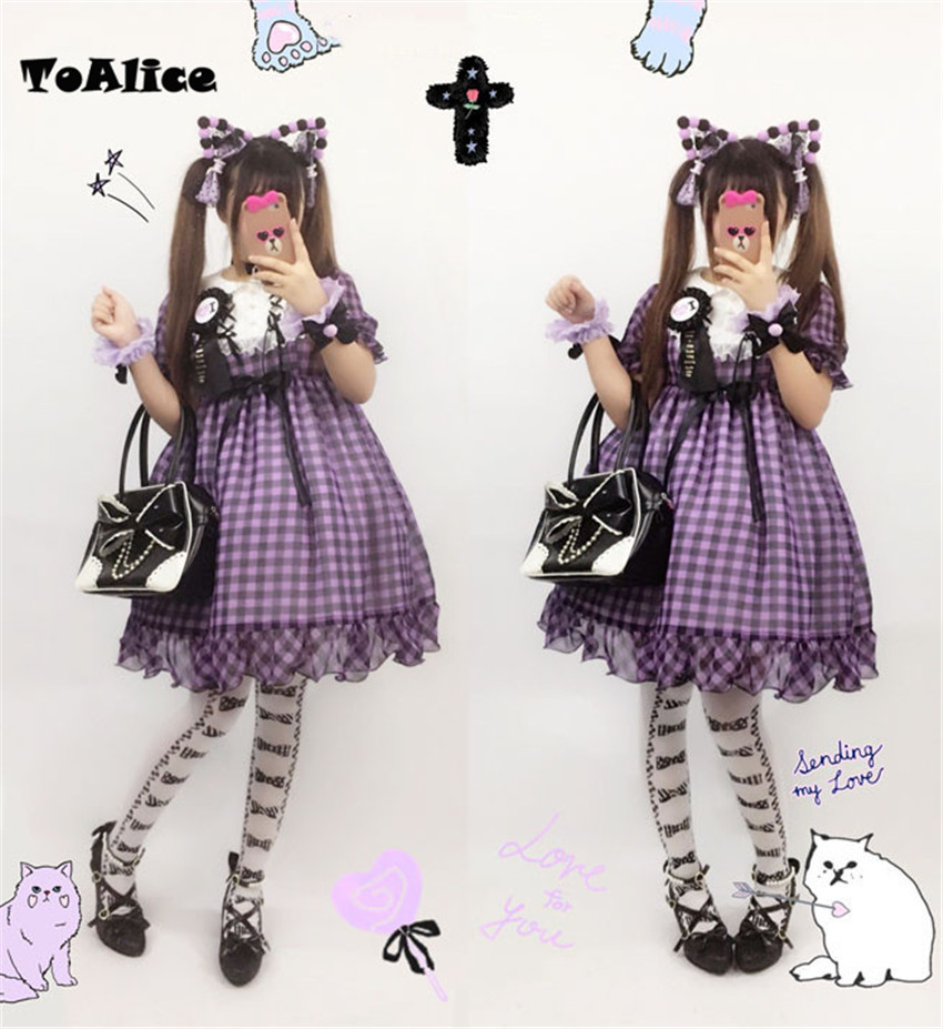 Kawaii Plaid Checks Dresses Japanese Women's Lolita OP Dress Bows Short Sleeve Peter Pan Collar Cute One Piece Ball Gown