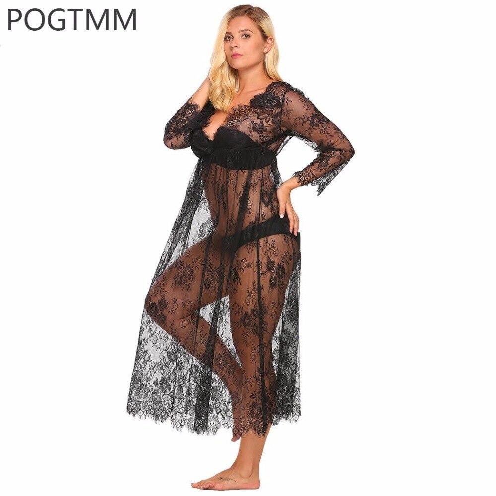 Большой белье сексуальное эротическое горячий секс костюм прозрачный цветочный Кружево Длинная Ночная пижамы плюс Размеры сорочка Ночная ...