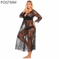 Big Lingerie Sexy Erotic Hot Sex Costume Transparent Floral Lace Long Nightgown Sleepwear Plus Size Babydoll Chemise White XXXXL