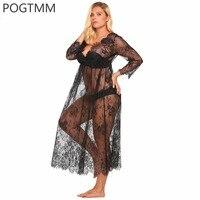 Lớn Đồ Lót Sexy Erotic Quan Hệ Tình Dục Nóng Costume Transparent Hoa Ren Dài Áo Ngủ Ngủ Cộng Với Kích Thước Babydoll Chemise Trắng XXXXL