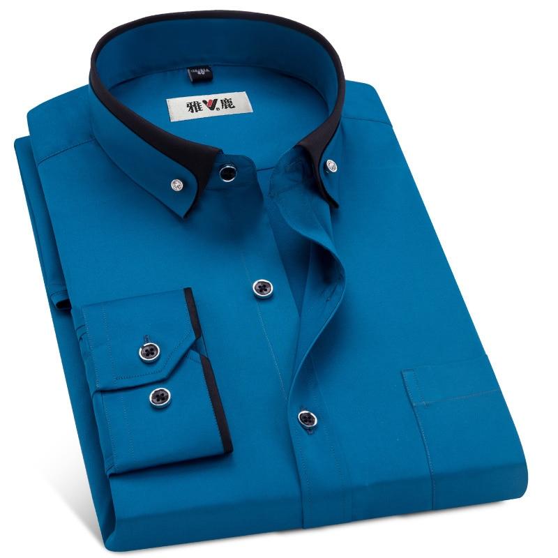 MACROSEA Men's Business Dress Shirts Male Formal Button-Down Collar Shirt Fashion Style Spring&Autumn Men's Casual Shirt 2