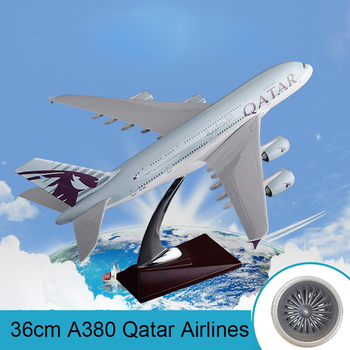36cm A380 Qatar Airlines Airbus Model QATAR International Aviation Airways Resin Aircraft Model Airplane A380 Plane Model Gift