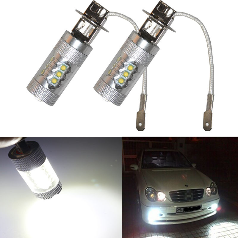 kongyide Healight Bulbs 2X H3 80W LED White Fog Tail Turn DRL Head Car Light Lamp Bulb NOV10
