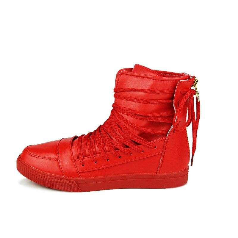 À Tops black Hommes Chaussures Crochet Bottes Et Boucle Blanc Lacets White Haute Étudiants Noir Casual 2017 red Rouge Male Pu Conseil Cuir f7bvY6yg