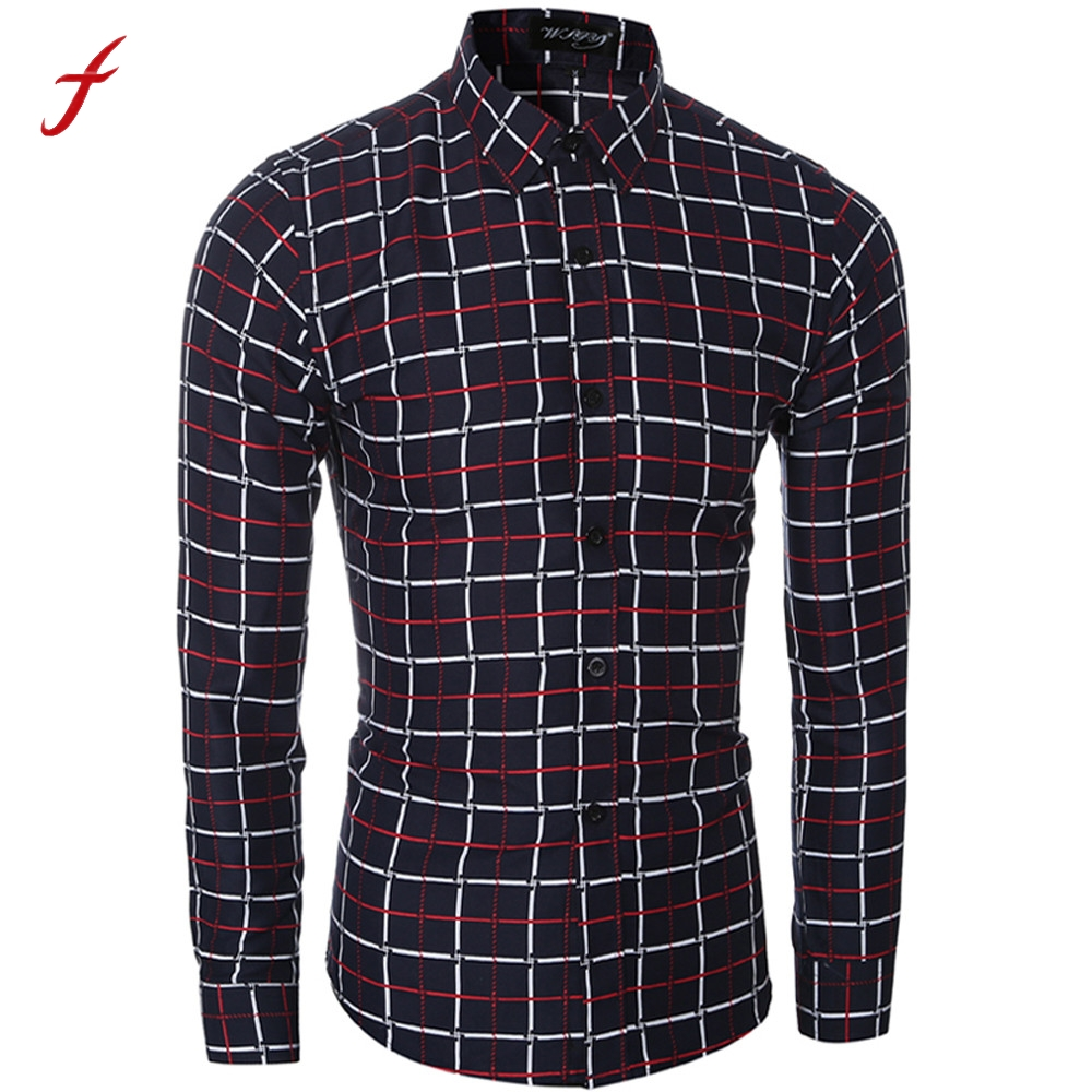 FEITONG Fashion Mens Dress Shirt Slim Fit Long Sleeve Male Plaid Turn Down Collar Social ...