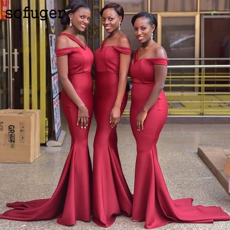 Red Satin Sweetheart Spaghetti Sashes Special Off The Shoulder Occasion   Bridesmaid     Dresses   Formal Vestidos Wedding Party