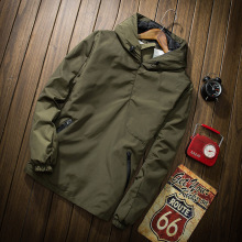 Повседневные мужские толстовки, осенняя однотонная армейская зеленая Черная куртка-бомбер, модная ветровка на молнии с капюшоном, тактический Мужской пуловер с капюшоном